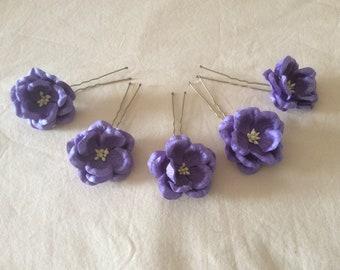 Hair Pins x 5 Purple Paper flowers. Bridal, Regency, Victorian.