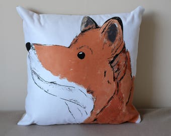 Curious Fox Cushion. 18 x 18 inches faux suede cushion cover with polyester insert. Illustration by Emily Morley.