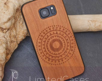 "Case for Samsung Galaxy S7 with Cherry-wood edition, laser engraving ""concentric circles"""