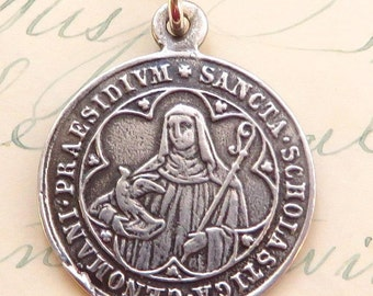 St Scholastica Medal - Patron of nuns, twins and against storms