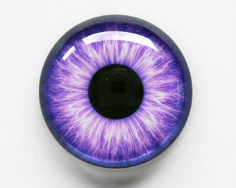 30mm handmade glass eye cabochon - purple eye - standard profile