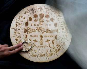 Wooden Ouija Board Round Spirit Board Specialty Designed Potions Game Magic Witchy Witch Pagan Modern