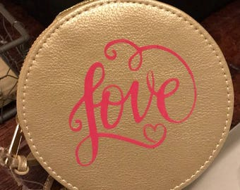 Love Small Jewelry Box - Round - Gold or Pink