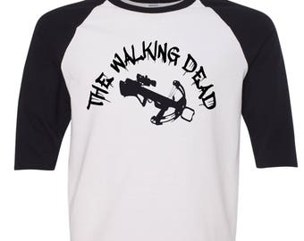 Walking Dead Baseball Style Raglan Daryl's Crossbow Shirt