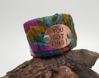 Motivational Leather Cuff Bracelet, You Got This, Tribal Cuff, Tribal Jewelry, Leather Belt Bracelet, Repurposed Jewelry, Bohemian Cuff