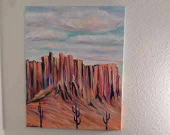 Desert Clear Day Arizona, Acrylic Painting on canvas 12x20 inches