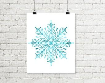Snowflake Print, Christmas Printable Aqua Blue Watercolor Wall Art, Teal Blue Winter Decor Instant Digital Download 8x10