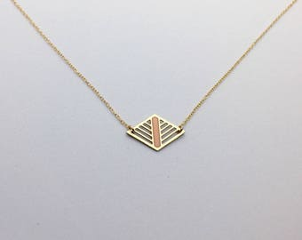 Geometric Laser Cut Diamond Necklace Peach and Gold Delicate Minimal Jewelry