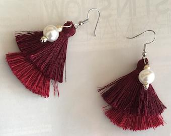 Red hot tessel earrings