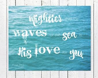 Bible Verse Wall Art | Scripture Wall Art | Large Art Prints | Turquoise Ocean Photography Inspirational Beach Quote Wall Art | Psalm 93