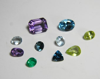 Loose Faceted Gemstone Lot - Aquamarine Topaz Peridot Amethyst Emerald - Faceted Natural Gemstones