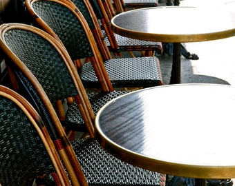 Paris Photography - French Cafe Tables Photograph - Parisian Decor - Bistro Wall Art - France - Dark Green - Vita Nostra Travel Photo
