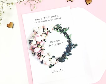 Floral Save The Date - save the date card - flower save the date - personalised - wedding announcement - spring save the date