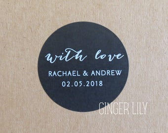 Personalised Wedding Favour Stickers - With Love - Black & White