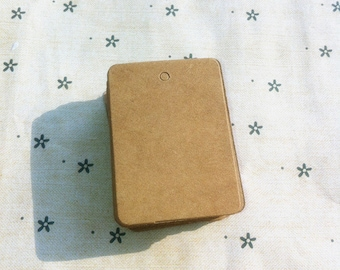 Brown kraft rectangular plain gift tag / cardboard tags in set of 50