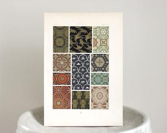 Antique Racinet Print Ornamental Chromolithograph c. 1878 11 x 15 3/4 inches