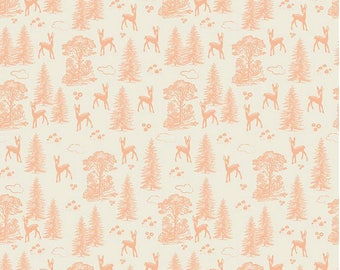 Riley Blake Designs Fabric - Woodland Spring Collection Friends Coral 1.5 yds