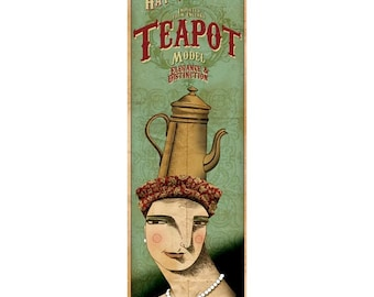 Teapot Hat Model. Large illustration print from the modern hat company
