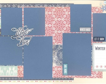 12x12 WINTERTIME scrapbook page kit, premade winter scrapbook, 12x12 premade scrapbook page, premade scrapbook pages, 12x12 scrapbook layout