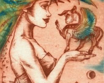 Dream, dry point, intaglio, original art, etching, fantasy art, original print