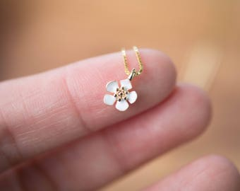 Gold Colored (Brass) Necklace with Dainty White Flower Pendant