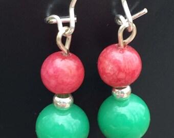 Red and green earrings, dangle earrings, glass bead earrings, trendy earrings, gypsy earrings, bohemian earrings, hippy earrings