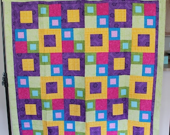 Geometric Block Patchwork Lap Size Quilt Top