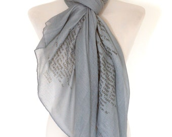 David Bowie Scarf. Grey. Music lyrics scarf with 'Space Oddity' print. Poetry scarf.