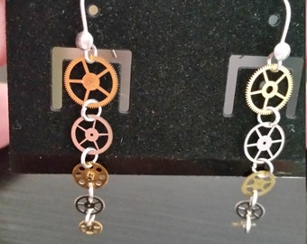 Adorable Sterling Silver Dangle Clock Parts Steampunk Earrings