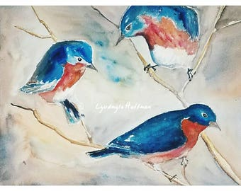Bluebirds, 12x16 watercolor with 16x20 double mat, framed
