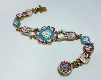 Beautiful Micro Mosaic Flower Bracelet, Grand Tour Souvenir Jewelry, Italy