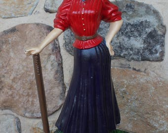 "Charming Victorian Style WOMAN GOLFER DOORSTOP - 16"" Tall Cast Metal - Beautiful Gift"