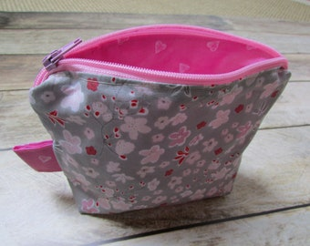 Wallet, makeup Kit in grey pink floral fabric - 12 x 15 x 4.5 cm - cotton - 162