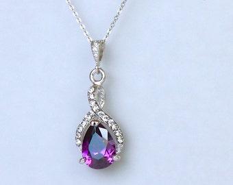 Amethyst Crystal Necklace, Purple Crystal Bridal Necklace, Wedding Necklace, Amethyst Bridesmaids Necklace,  RIBBON