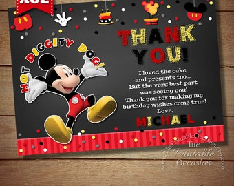 THANK YOU CARD Mickey Mouse Chalkboard Thank You Card, Thank You Card, Chalkboard Thank You Card, Mickey Mouse Printable Thank You Card