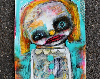 Abstract Clown Portrait, Original Art Print. Carnival wall art, whimsical art. circus figure, Outsider Art, Raw art
