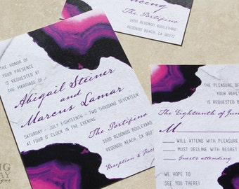 Agate wedding invitations. Purple agate Wedding Invitation,agate wedding,agate,purple and stone,gemstone wedding,agate gemstone,printed