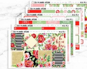 Rose Planner Kit, Red Rose Weekly Kit, weekly planner kit for use with Erin Condren
