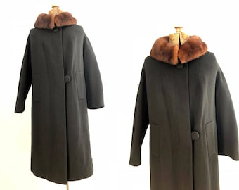 Classic Audrey Hepburn 'esque Black 60s Swing Coat with Fur Collar | Saks Fifth Avenue