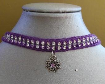 Crocheted purple choker