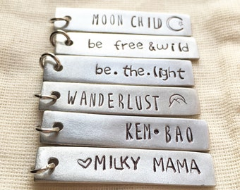 ADD ON CHARM | hand stamped pewter bar | personalized custom bar | hand stamped personalized jewelry | customize any necklace