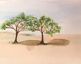 Aceo original water color painting two trees ready to ship gift ooak art