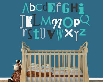 Alphabet Wall Decal, Nursery Wall Decal Stickers, REUSABLE Fabric Decal, A158A
