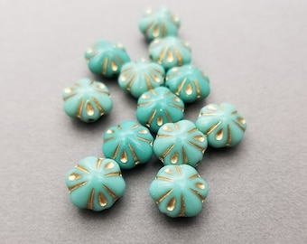 Turquoise, Gold Czech Glass Flower Beads | Set of 12 Beads