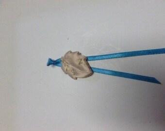 Satin and blue leaf