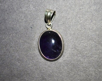 Deep Dark Amethyst and 925 Sterling Silver pendant