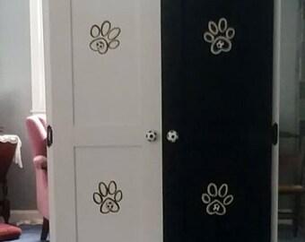 Lg Pet armoire, pet wardrobe, custom designed, hand painted, dog closet, pet clothes closet, dog closet, pet furniture,dog armoire,  soccer
