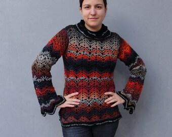 Böhmische bunte Tunika Pullover Strickwaren Kleidung uns Größe 6 / 8 EU-Größe 36 / 38