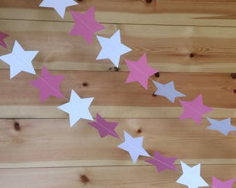 Pastel Pink and White Star Garland, Decorations, Weddings, Party Decor, Baby Showers, Celebrations,