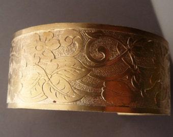 Brass Cuff Bracelet Victorian Floral Etched